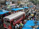 Downtown Mumbai crawling through traffic