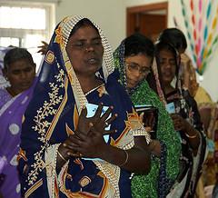Women contemplative in worship