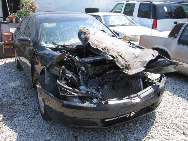Luke and Rachel Kendall's car after Rachel's wreck