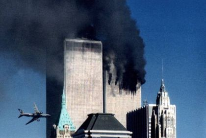 9-11-before-collapse with plane approaching 2nd tower